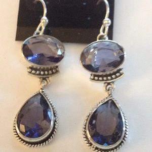 Natural Iolite Gemstone Earrings